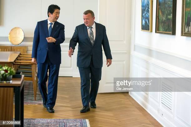 Japanese Prime Minister Shinzo Abe meets Danish Prime Minister Lars Loekke Rasmussen at the PM's Office on July 10 2017 in Copenhagen Denmark The two...