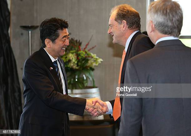 Japanese Prime Minister Shinzo Abe meets with Labour Minister David Shearer at Villa Maria Estate Winery on July 7 2014 in Auckland New Zealand Prime...