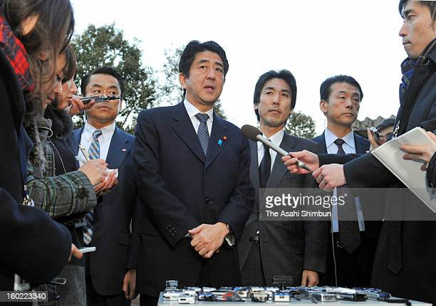 Japanese Prime Minister SHinzo Abe speaks after receiving the report on Algerian hostage crisis from Parliamentary vice foreign minister Minoru...