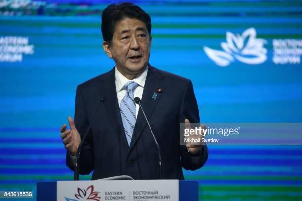 Japanese Prime Minister Shinzo Abe speaks at the plenary session of the Eastern Economic Forum on September 7 2017 in Vladivostok Russia Leaders of...