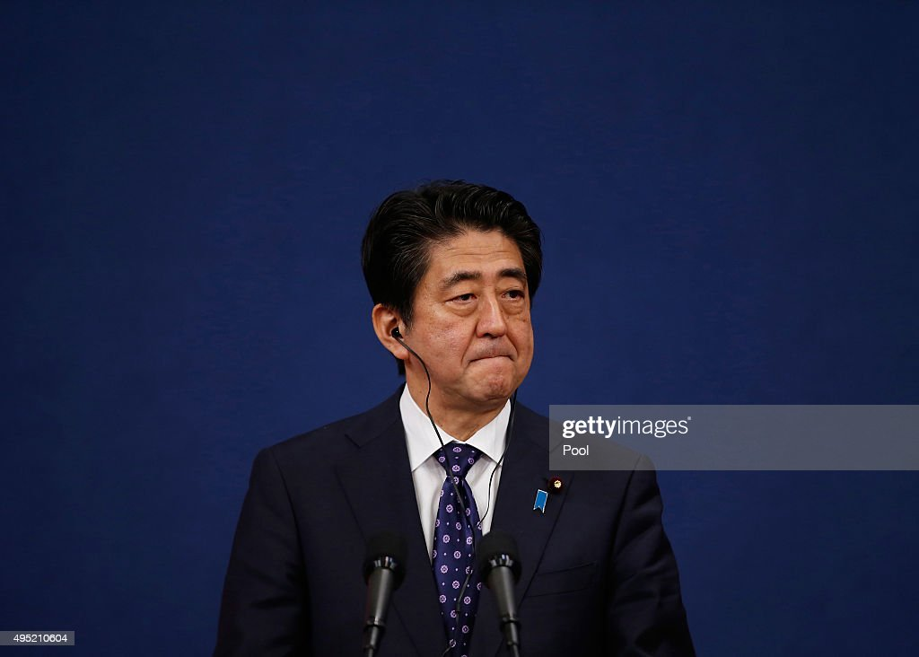 Japanese Prime Minister <a gi-track='captionPersonalityLinkClicked' href=/galleries/search?phrase=Shinzo+Abe&family=editorial&specificpeople=559017 ng-click='$event.stopPropagation()'>Shinzo Abe</a> speaks during a joint news conference after trilateral summit at the presidential Blue House on November 1, 2015 in Seoul, South Korea. President Park Geun-hye, Japanese Prime Minister <a gi-track='captionPersonalityLinkClicked' href=/galleries/search?phrase=Shinzo+Abe&family=editorial&specificpeople=559017 ng-click='$event.stopPropagation()'>Shinzo Abe</a> and Chinese Premier Li Keqiang gathered in Seoul to hold a trilateral summit for the first time in three years. The issues to be discussed include the trilateral free trade agreement, perceptions on wartime history, and territorial disputes.