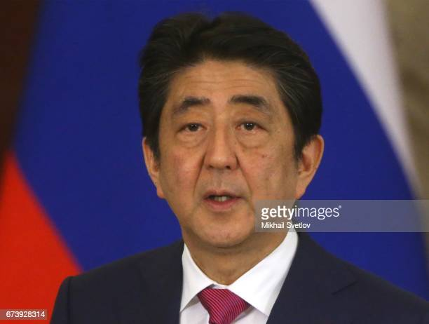 Japanese Prime Minister Shinzo Abe speaks during RussianJapan talks at the Grand Kremlin Palace on April 27 2017 in Moscow Russia Abe is on a twoday...