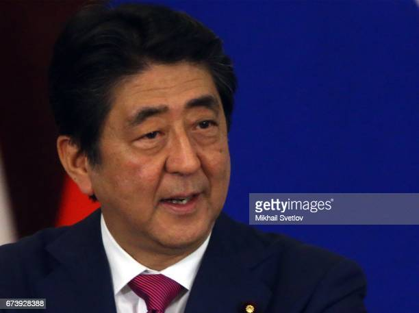 Japanese Prime Minister Shinzo Abe speaks during talks with Russian President Vladimir Putin at the Grand Kremlin Palace on April 27 2017 in Moscow...