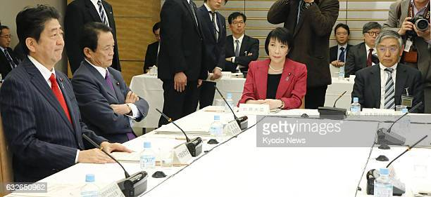 Japanese Prime Minister Shinzo Abe speaks in a meeting of the Council on Economic and Fiscal Policy in Tokyo on Jan 25 2017 In its report presented...