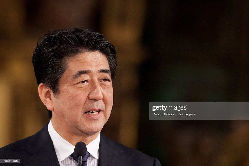 Japanese Prime Minister <a gi-track='captionPersonalityLinkClicked' href=/galleries/search?phrase=Shinzo+Abe&family=editorial&specificpeople=559017 ng-click='$event.stopPropagation()'>Shinzo Abe</a> (L) speaks next to Spain's Prime Minister Mariano Rajoy (not in picture) during a meeting with the press at Hostal Los Reyes Catolicos after their visit to Santiago de Compostela cathedral on May 4, 2014 in Santiago de Compostela, Spain. <a gi-track='captionPersonalityLinkClicked' href=/galleries/search?phrase=Shinzo+Abe&family=editorial&specificpeople=559017 ng-click='$event.stopPropagation()'>Shinzo Abe</a> is on a nine days tour of six European nations. Abe has been to Germany, United Kingdom and Portugal, and he will visit France and Belgium after Spain.