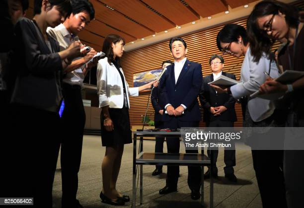 Japanese Prime Minister Shinzo Abe speaks to media after North Korea's missile launch at his official residence on July 29 2017 in Tokyo Japan North...