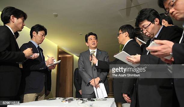 Japanese Prime Minister Shinzo Abe speaks to media reporters after his meeting with Russian President Vladimir Putin on May 6 2016 in Sochi Russia...