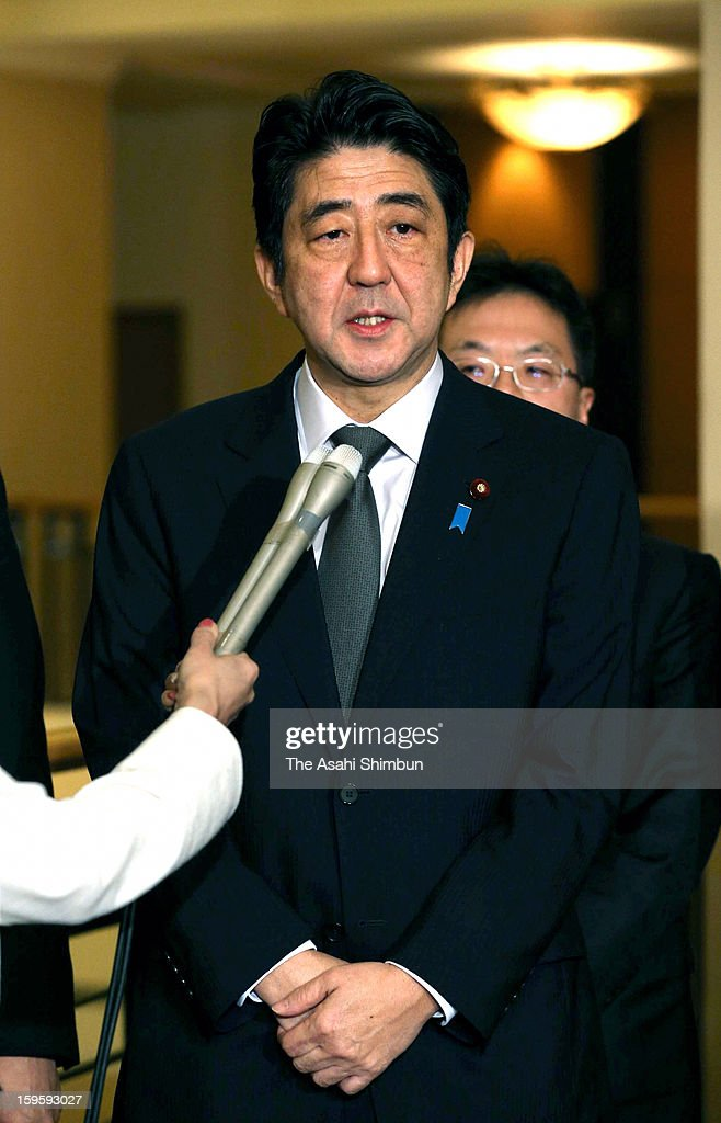 Japanese Prime Minister Shinzo Abe speaks to media reporters during his official visit to Southeast Asia on January 17, 2013 in Tokyo, Japan. Islamic armed group in Algeria are holding foreign hostage, including Japanese.