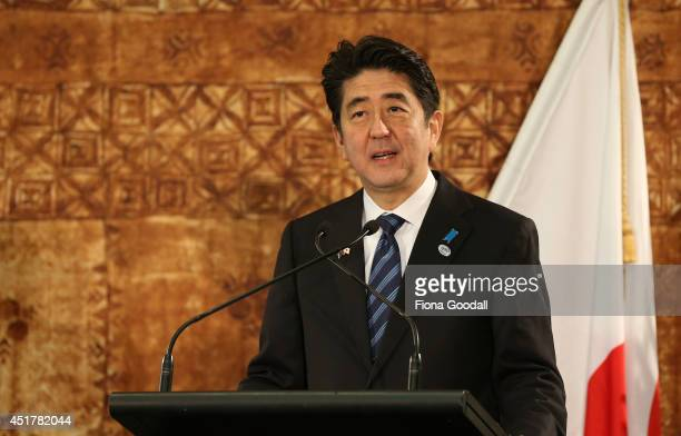 Japanese Prime Minister Shinzo Abe speaks to the media after a traditional Maori welcome at Government House and talks with New Zeland Prime Minister...