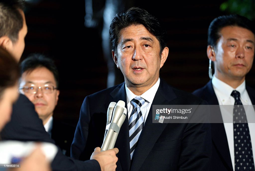 Japanese Prime Minister <a gi-track='captionPersonalityLinkClicked' href=/galleries/search?phrase=Shinzo+Abe&family=editorial&specificpeople=559017 ng-click='$event.stopPropagation()'>Shinzo Abe</a> speaks to the media reporters ahead of G20 Summit in Russia, at his official residence on September 4, 2013 in Tokyo, Japan.
