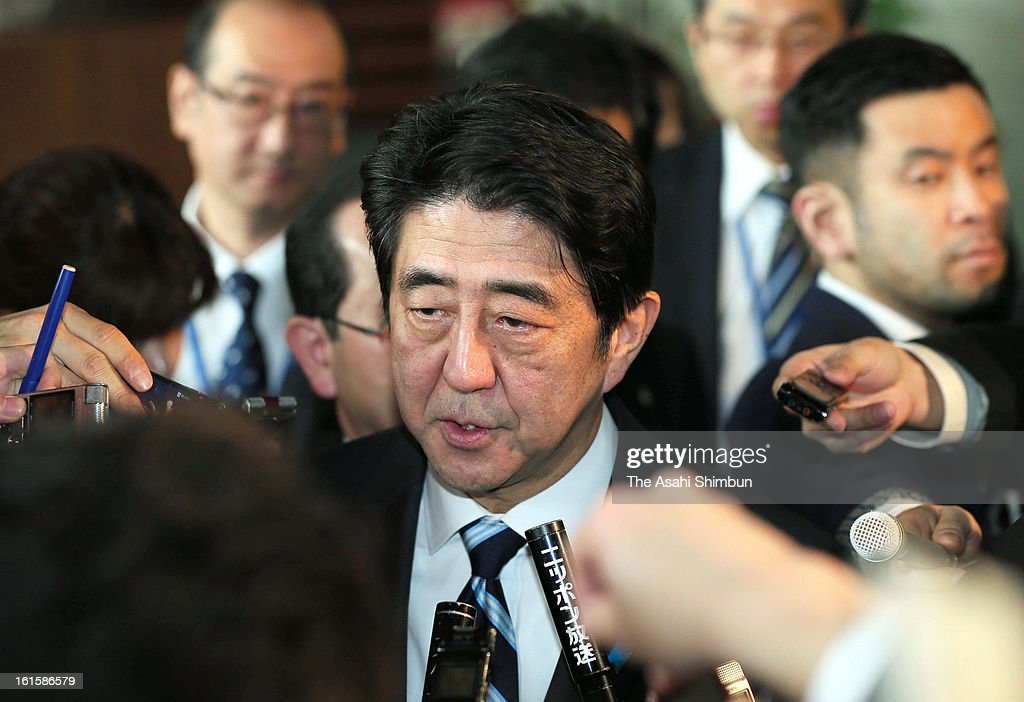 Japanese Prime Minister <a gi-track='captionPersonalityLinkClicked' href=/galleries/search?phrase=Shinzo+Abe&family=editorial&specificpeople=559017 ng-click='$event.stopPropagation()'>Shinzo Abe</a> speaks to the media reporters on the possible nuclear test by North Korea, at his official residence on February 12, 2013 in Tokyo, Japan. North Korea confirmed it had successfully carried out an underground nuclear test as a shallow earthquake with a magnitude of 4.9 was detected by several international monitoring agencies. South Korea and Japan both assembled an emergency meeting of their respective national security teams after the incident.