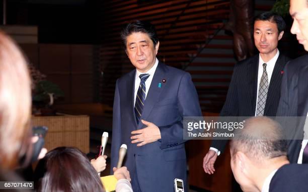 Japanese Prime Minister Shinzo Abe speaks to the media reporters after Head director of school operator 'Moritomo Gakuen' Yasunori Kagoike testimony...
