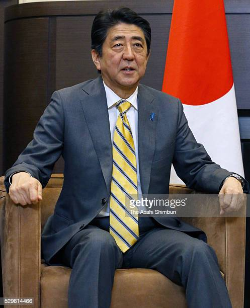 Japanese Prime Minister Shinzo Abe talks during his meeting with Russian President Vladimir Putin on May 6 2016 in Sochi Russia Abe and Putin agreed...