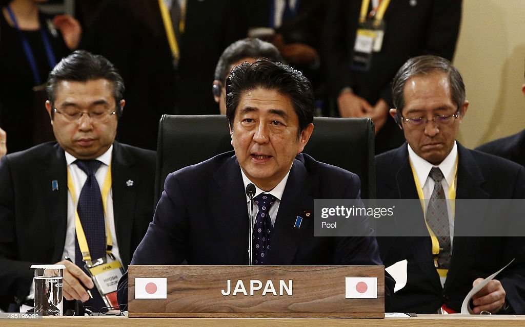 Japanese Prime Minister <a gi-track='captionPersonalityLinkClicked' href=/galleries/search?phrase=Shinzo+Abe&family=editorial&specificpeople=559017 ng-click='$event.stopPropagation()'>Shinzo Abe</a> (C) talks with Chinese Prime Minister Li Keqiang (not pictured) and South Korean President Park Geun-Hye (not pictured) during their trilateral summit at the presidential Blue House on November 1, 2015 in Seoul, South Korea. President Park Geun-hye, Japanese Prime Minister <a gi-track='captionPersonalityLinkClicked' href=/galleries/search?phrase=Shinzo+Abe&family=editorial&specificpeople=559017 ng-click='$event.stopPropagation()'>Shinzo Abe</a> and Chinese Premier Li Keqiang gathered in Seoul to hold a trilateral summit for the first time in three years. The issues to be discussed include the trilateral free trade agreement, perceptions on wartime history, and territorial disputes.