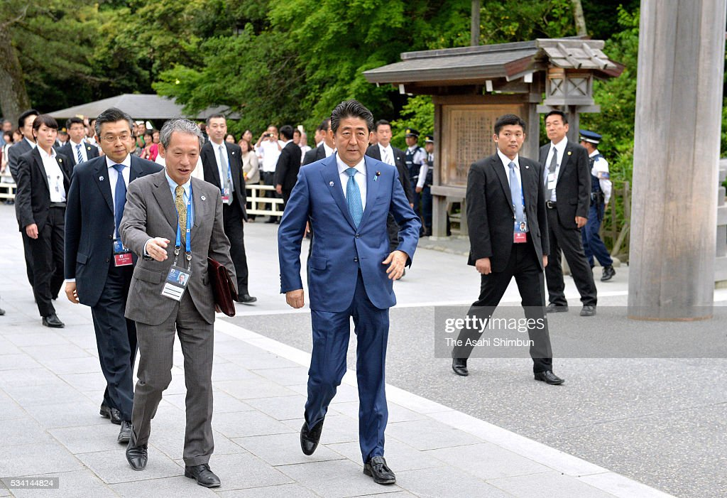 Japanese Prime Minister Shinzo Abe visit Ise Jingu Shrine ahead of the Group of Seven summit on May 25, 2016 in Ise, Mie, Japan. The Group of Seven summit takes place on May 26 and 27 to discuss key global issues such as global economy and anti terrorism measures.