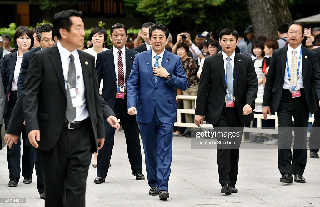 Japanese Prime Minister <a gi-track='captionPersonalityLinkClicked' href=/galleries/search?phrase=Shinzo+Abe&family=editorial&specificpeople=559017 ng-click='$event.stopPropagation()'>Shinzo Abe</a> visit Ise Jingu Shrine ahead of the Group of Seven summit on May 25, 2016 in Ise, Mie, Japan. The Group of Seven summit takes place on May 26 and 27 to discuss key global issues such as global economy and anti terrorism measures.
