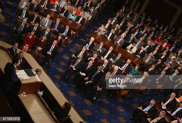Japanese Prime Minister Shinzo speaks to a joint meeting of the US Congress in the House chamber of the US Capitol April 29 2015 in Washington DCThe...