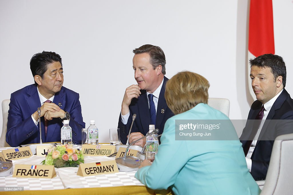 Japanese Prime Minister Shizo Abe, British Prime Minister <a gi-track='captionPersonalityLinkClicked' href=/galleries/search?phrase=David+Cameron+-+Politician&family=editorial&specificpeople=227076 ng-click='$event.stopPropagation()'>David Cameron</a>, German Chancellor <a gi-track='captionPersonalityLinkClicked' href=/galleries/search?phrase=Angela+Merkel&family=editorial&specificpeople=202161 ng-click='$event.stopPropagation()'>Angela Merkel</a> and Italian Prime Minister <a gi-track='captionPersonalityLinkClicked' href=/galleries/search?phrase=Matteo+Renzi&family=editorial&specificpeople=6689301 ng-click='$event.stopPropagation()'>Matteo Renzi</a> attend the Japan EU EPA/FTA meeting on May 26, 2016 in Kashikojima, Japan. In the two-day summit, the G7 leaders are scheduled to discuss the pressing global issues including counter-terrorism, energy policy, and sustainable development.