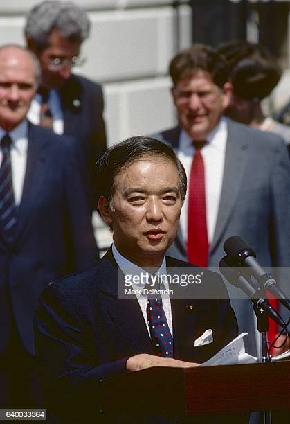 Japanese Prime Minister Toshiki Kaifu speaks from the South Portico of the White House Washington DC September 1 1989 He had just met with US...