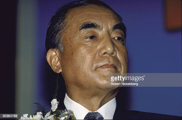 Japanese Prime Minister Yasuhiro Nakasone making a speech during a ceremony in Thailand