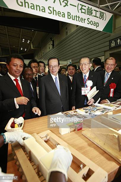 Japanese Prime Minister Yasuo Fukuda visits Ghana Shea Butter soap exhibition booth during the opening ceremony of the African Fair 2008 on the first...