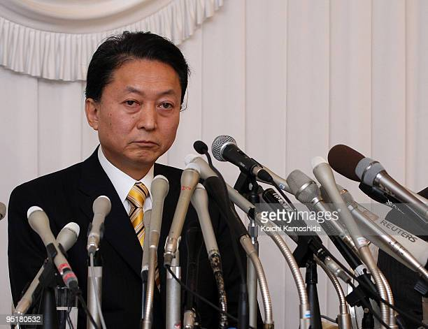 Japanese Prime Minister Yukio Hatoyama attends a press conference at Hotel Le Port Kojimachi on December 24 2009 in Tokyo Japan Hatoyama's former...