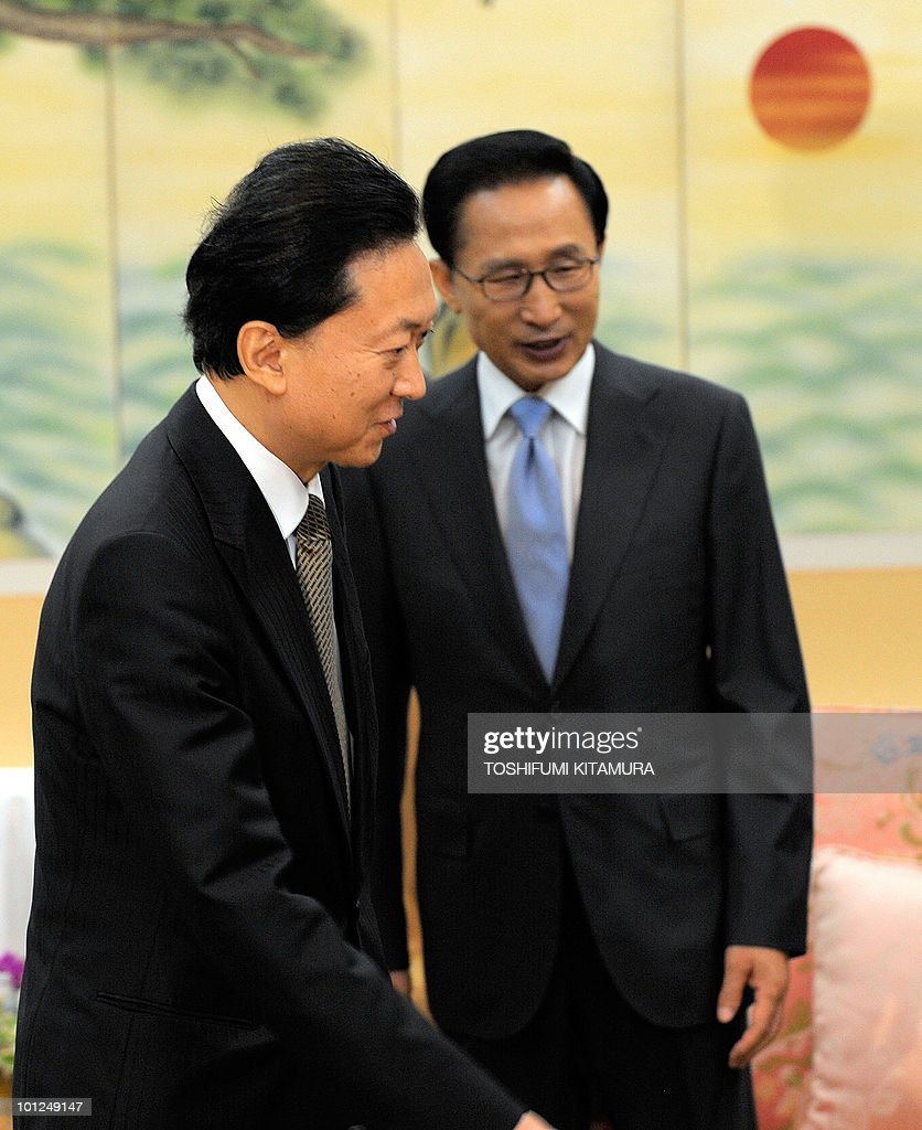 Japanese Prime Minister Yukio Hatoyama (L) enters the meeting room with South Korean President Lee Myung-Bak (R) prior to their talks at a hotel in Seogwipo city, Jeju island, on May 29, 2010. Hatoyama, Chinese Premier Wen Jiabao and South Korean President Lee Myung-Bak will meet in a three-way summit, amid high tensions on the Korean peninsula. The two-day talks on the South Korean holiday island of Jeju are likely to focus on China's ally North Korea after an investigation found Pyongyang was responsible for the sinking of a South Korean warship that left 46 dead.