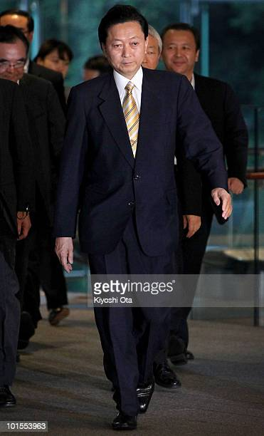 Japanese Prime Minister Yukio Hatoyama leaves his official residence after speaking to the media on June 2 2010 in Tokyo Japan Hatoyama announced he...