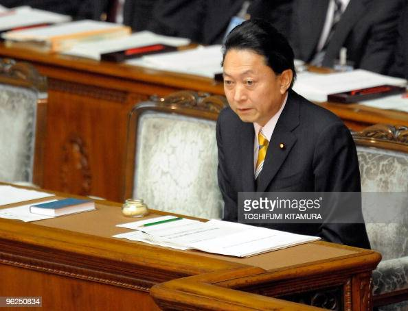 Japanese Prime Minister Yukio Hatoyama takes his seat to start his key policy speech at the lower house of the parliament in Tokyo on January 29 2010...