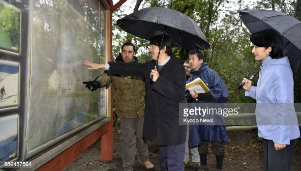 Japanese Prince Akishino and his wife Princess Kiko visit the Vicente Perez Rosales National Park in the suburbs of Chile's Puerto Varas on Oct 1...
