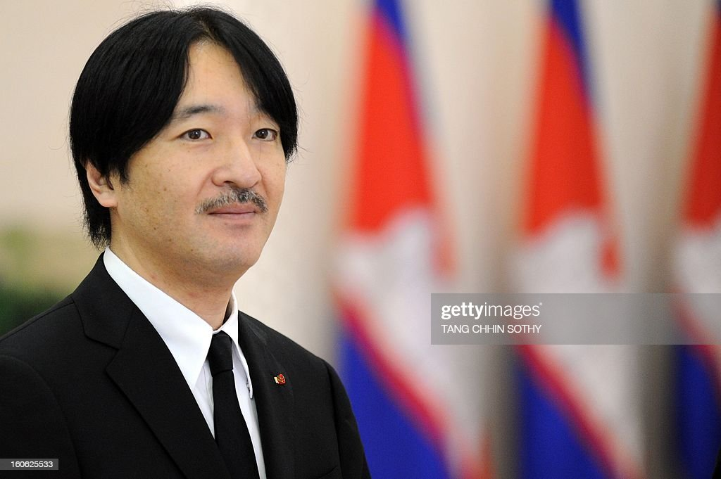 Japanese Prince Akishino is pictured during a meeting with Cambodian Prime Minister Hun Sen at the Peace Palace in Phnom Penh on February 4, 2013. Akishino arrived here to pay his respects and attend the funeral of the late former king Norodom Sihanouk ahead of his cremation on February 4.