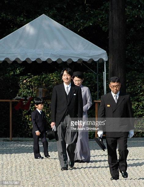 Japanese Prince Akishino Princess Kiko and their son Prince Hisahito on their way back from their visit to mausoleum of Emperor Kanmu on November 7...