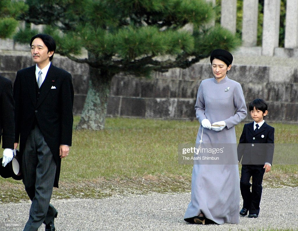 Japanese Prince Akishino (L), Princess Kiko (C) and their son <a gi-track='captionPersonalityLinkClicked' href=/galleries/search?phrase=Prince+Hisahito&family=editorial&specificpeople=3197577 ng-click='$event.stopPropagation()'>Prince Hisahito</a> (R), are seen on their way back from their visit to mausoleum of Emperor Kanmu on November 7, 2012 in Kashihara, Nara, Japan.