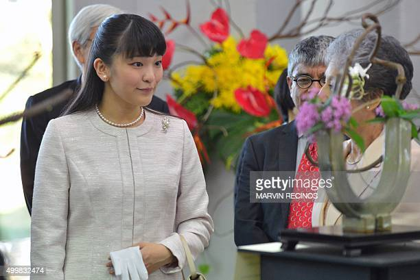 Japanese Princess Mako arrives for a ceremony to commemorate the 80th anniversary of diplomatic relations at the Foreign Ministry headquarters in San...