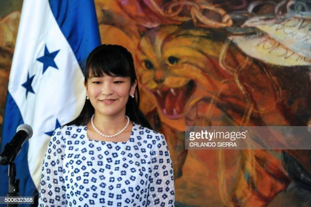 Japanese Princess Mako delivers a speech after being given the key to the city by the Honduran capital's Mayor Nasry Asfura in Tegucigalpa on...