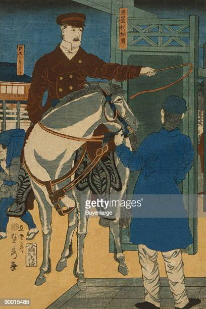 Japanese print shows an American man on horseback gesturing to his left with a whip to a man holding the bridle of his horse Done by Sadahide Utagawa...