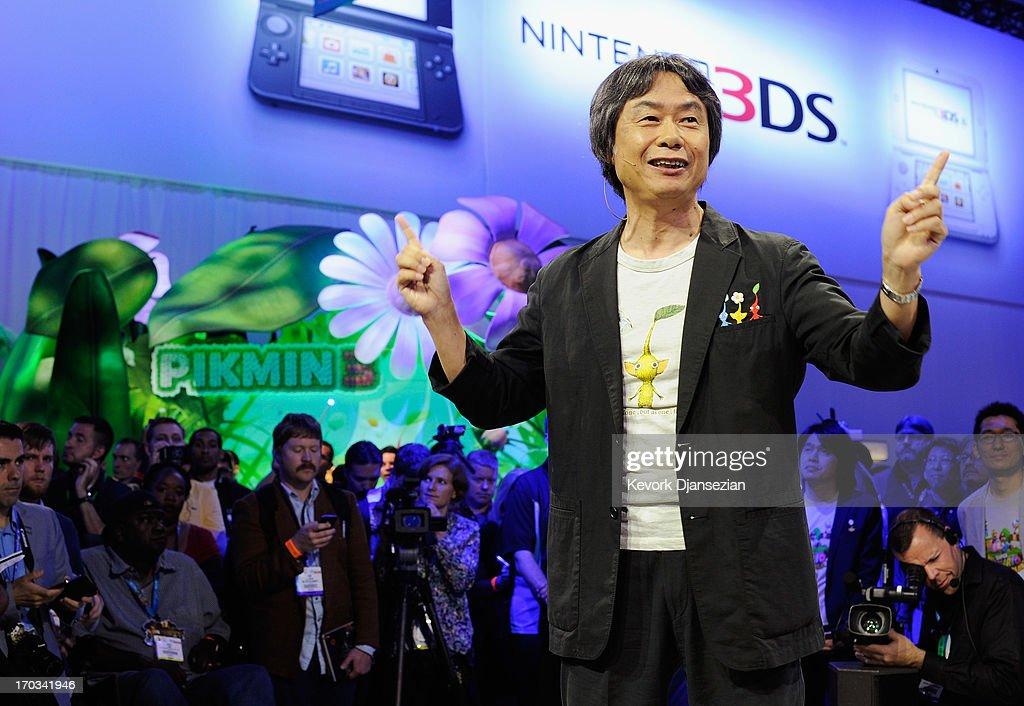 Japanese producer <a gi-track='captionPersonalityLinkClicked' href=/galleries/search?phrase=Shigeru+Miyamoto&family=editorial&specificpeople=2608501 ng-click='$event.stopPropagation()'>Shigeru Miyamoto</a>, general producer of the video game Pimkin 3 for Wii U, kicks off Nintendo's showcase of the Electronic Entertainment Expo 2013 at the Los Angeles Convention Center on June 11, 2013 in Los Angeles, California. Thousands are expected to attend the annual three-day convention to see the latest games and announcements from the gaming industry.