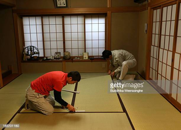 Japanese professional Tatami mat manufacturers set Tatami mat at traditional house on October 18 2013 in Kyoto Japan Tatami mat is a type of flooring...