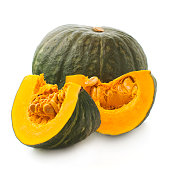 whole and sliced of Japanese pumpkin kabocha on a white background