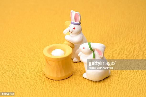 Japanese Rabbits making Rice Cakes