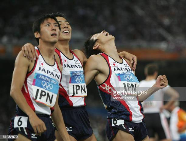 Japanese relay team are seen after the men's 4 x 100 metre relay final on August 28 2004 during the Athens 2004 Summer Olympic Games at the Olympic...