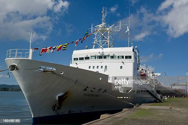 Japanese research ship Yokosuka carrying the Shinkai 6500 submarine is anchored at Santos Harbour May 25 2013 in Santos south of Sao Paulo Brazil...