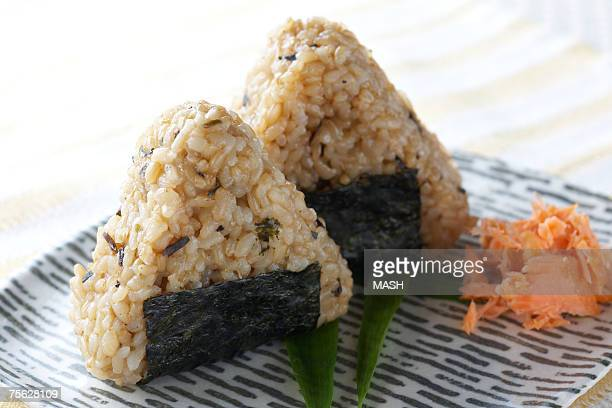 Japanese rice balls on plate, close-up