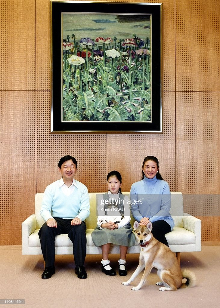 Japanese Royal Photo Session In Tokyo, Japan On December 02, 2010 - In this photo taken on Thursday, December 2, 2010 and released by the Imperial Household Agency of Japan, Crown Prince Naruhito, left, and Crown Princess Masako, right, smile as they look on their daughter Princess Aiko holding her cat reacts with her dog Yuri during their photo session at their residence Togu Palace in Tokyo - Masako turns 47th birthday Thursday, December 9, 2010.