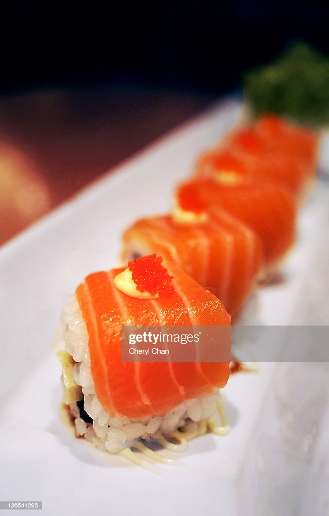 Japanese salmon maki roll : Stock Photo