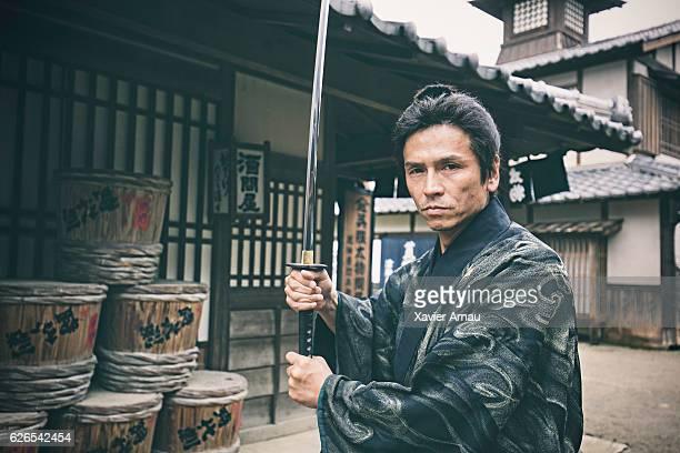 Japanese samurai warrior with katana