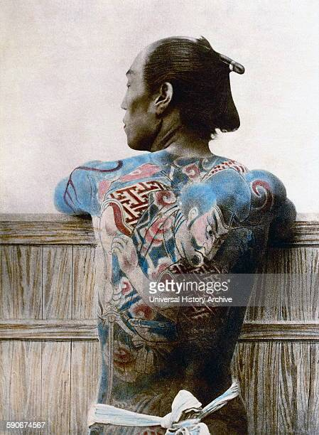 Japanese Samurai warrior with tattoos Vintage photograph from japan 1890