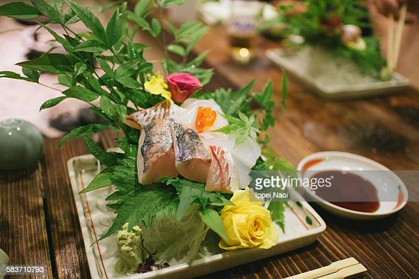 Japanese sashimi raw fish plate with Yellowtail