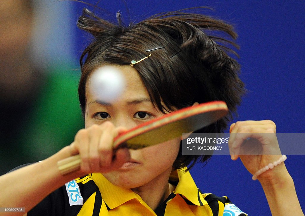 Japanese Sayaka Hirano returns a service to Tawanese Huang Yi-Hua on May 25, 2010 during their match at the 2010 World Team Table Tennis Championships in Moscow.