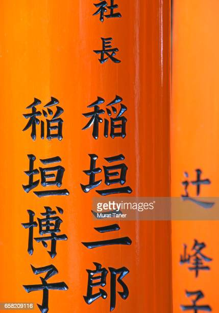 Japanese script on torii gates at Fushimi Inari Shrine